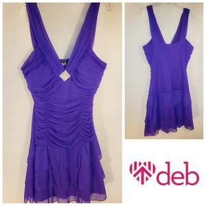 Deb Purple V-neck Sleeveless Formal Ruffle Dress
